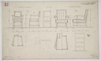 12. Projekt przebudowy na budynek administracyjny Instytutu Balneologicznego, projekty dwóch rodzajów foteli do sali posiedzeń iczytelni, 1940-1550. Ze zbiorów Muzeum Narodowego wKrakowie ©